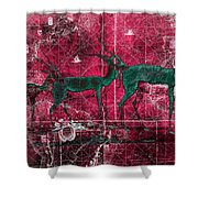Three Antelope On Red Shower Curtain