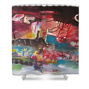 Three Arms10  Original Abstract Colorful Landscape Painting For Sale Red Blue Green Shower Curtain