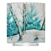 Three Aspens On A Snowy Slope Shower Curtain