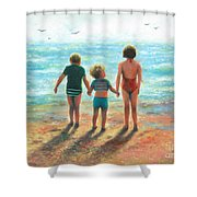 Three Beach Children Siblings  Shower Curtain