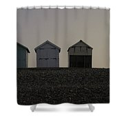 Three Beach Huts And A Lamp Shower Curtain