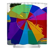Three Beach Umbrellas Shower Curtain