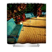 Three Benches Shower Curtain