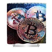 Three Bitcoin Coins In A Colorful Lighting. Shower Curtain