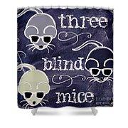 Three Blind Mice Children Chalk Art Shower Curtain