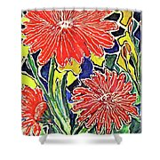 Three Red Blooms Shower Curtain