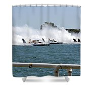 Three Boats Approaching The Start  Shower Curtain