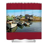 Three Boats At Peggys Cove Shower Curtain