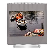 Three Boats Waiting Shower Curtain