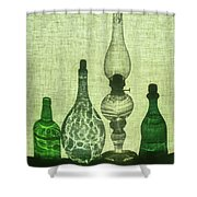 Three Bottles And A Lamp Shower Curtain