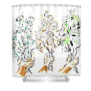 Three Bouquets Shower Curtain