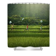 Three Boys Are Happy To Play Kites At Summer Field In Nature In  Shower Curtain
