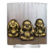 Three Buddha Statue Shower Curtain