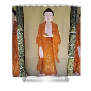 Three Buddha Statues Shower Curtain