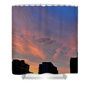 Three Buildings And Sky  Shower Curtain