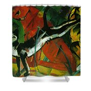 Three Cats 1913 Shower Curtain