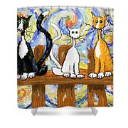 Three Cats On A Fence Shower Curtain