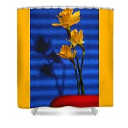 Three Cheers - Yellow Daffodils In A Red Bowl Shower Curtain