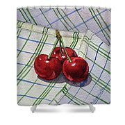 Three Sweet Cherries By Irina Sztukowski Shower Curtain