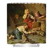 Three Children Feeding Rabbits Shower Curtain
