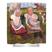 Three Children Sitting On A Hillside With Dog And Horse Shower Curtain