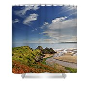 Three Cliffs Bay 4 Shower Curtain
