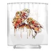 Three Cute Owls Watercolor Shower Curtain