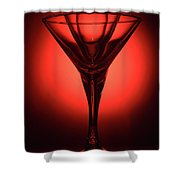 Three Empty Cocktail Glasses On Red Background Shower Curtain