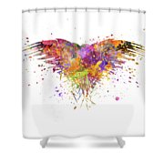 Three Eyed Crow In Watercolor Art Shower Curtain