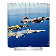 Three F-5e Tiger II Fighter Aircraft Shower Curtain