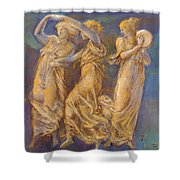 Three Female Figures Dancing And Playing Shower Curtain