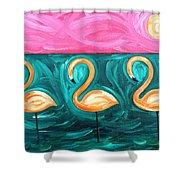 Three Flamingoes Shower Curtain