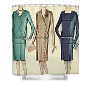 Three Flappers Modelling French Designer Outfits, 1928 Shower Curtain