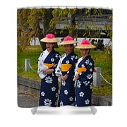 Three Floral Kimono Shower Curtain