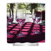 Three For Wine Shower Curtain