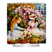 Three  Friends Shower Curtain by Leonid Afremov