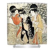 Three Girls Paddling In A River Shower Curtain