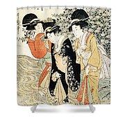 Three Girls Paddling In A River Shower Curtain by Kitagawa Utamaro