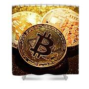 Three Golden Bitcoin Coins On Black Background. Shower Curtain
