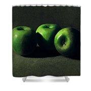 Three Green Apples Shower Curtain