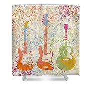 Three Guitars Paint Splatter Shower Curtain