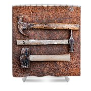 Three Hammers Against A Rust Background Shower Curtain