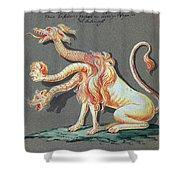 Three Headed Monster, 18th Century Shower Curtain