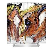 Three Horses Talking Shower Curtain