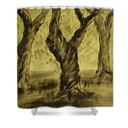 Three Is As Tree Gets Shower Curtain