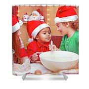 Three Kids Making Christmas Cookies Shower Curtain