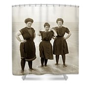 Three Ladies Bathing In Early Bathing Suit On Carmel Beach Early 20th Century. Shower Curtain