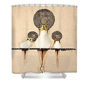 Three Ladies On A Dock  Shower Curtain