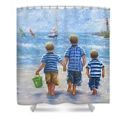 Three Little Beach Boys Walking Shower Curtain