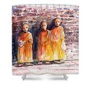 Three Little Monks Shower Curtain